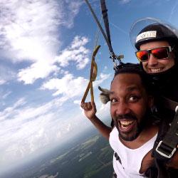 Male tandem student enjoying parachute flight while skydiving at Jump Georgia near Augusta GA